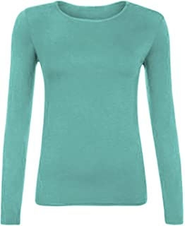 Ladies Long Sleeved Basic Shirt Stretch Viscose Long Sleeve Crew Neck Top Colourful Size EU 32 to 50