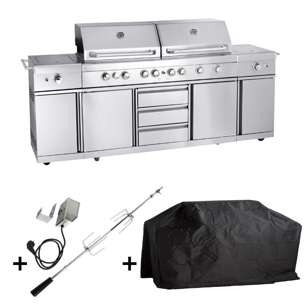 Allgrill Gasgrill Outdoorküche EXTREM - Set mit Grillspieß und Wetterschutzhülle