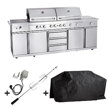 Allgrill Gasgrill Outdoorküche EXTREM - Set mit Grillspieß und ...