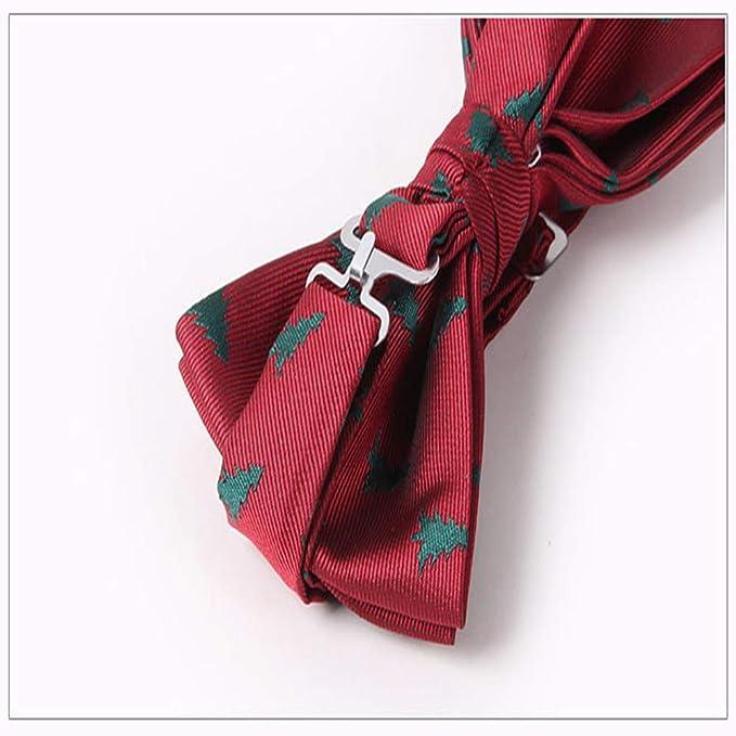 Ogquaton Papillon natalizio per uomo Papillon pre-legato regolabile Bowknot natalizio per uomo Ragazzo Rosso Pratico e utile