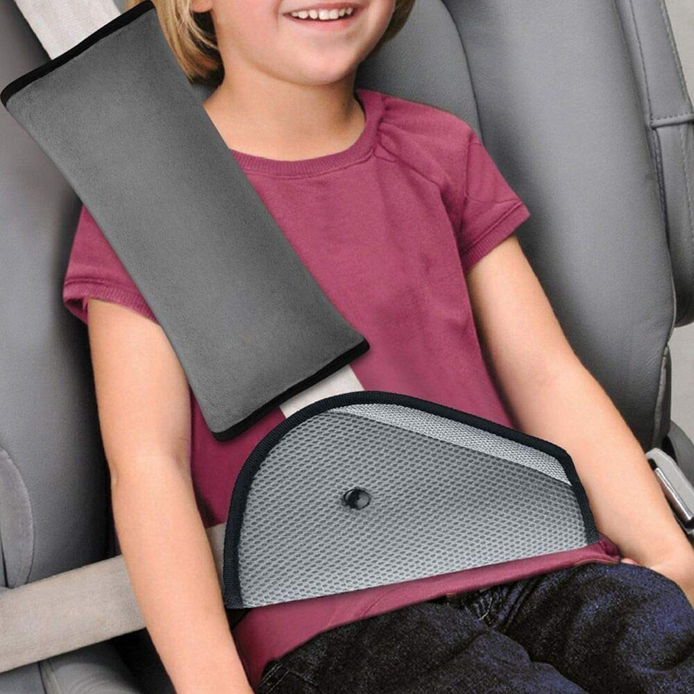 KKTICK Seat Belt Cover, Car Seatbelt Pillow and Adjuster Kit for Kids, Safety Belt Strap Protector Cushion Pad, for Children Baby Adult