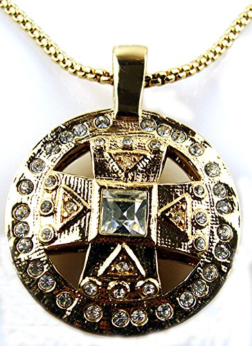 Gold Tone & Crystal Maltese Cross Pendant with 21