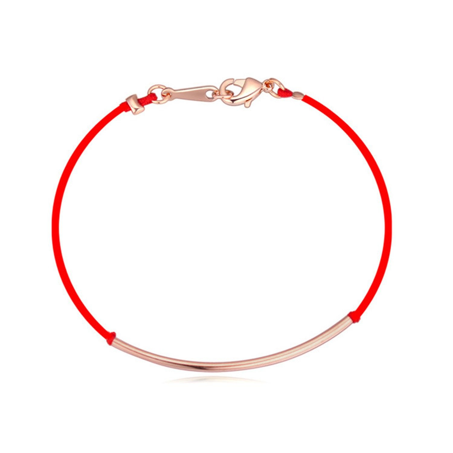 Flower-Bud born red rope braided bracelet high-end gold plated fine jewelry past and present Korean jewelry,Rose Gold by Flower-Bud (Image #1)