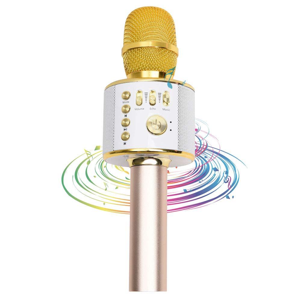 ZhongYe Mikrofon Karaoke Kabellos Bluetooth Gold