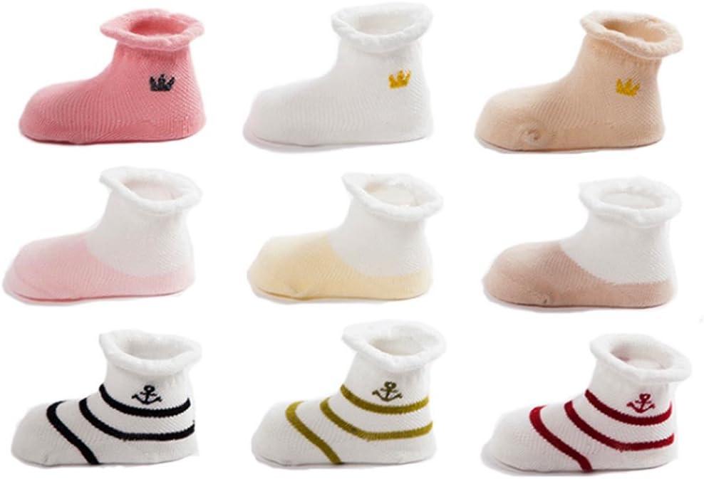 0-6mois FYGOOD Lot de 9 Paires Chaussettes Respirant B/éb/é Souple Coton Set A XS