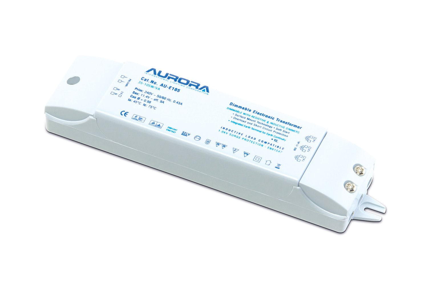 Aurora 35-105W/ VA Dimmable Low Voltage Electronic Transformer, 105 W AU-105