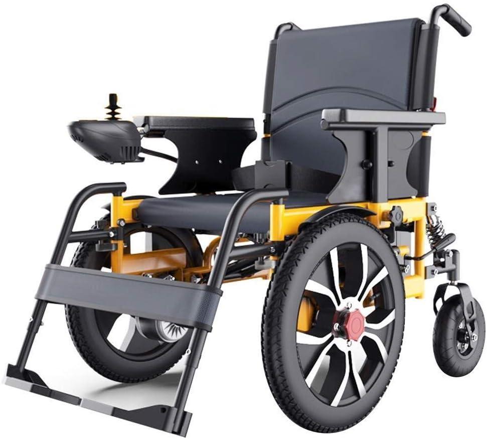 Silla de ruedas eléctrica, ultra portátil silla de ruedas plegable de la energía con la rueda delantera de 16 pulgadas, compacto Movilidad for sillas de ruedas Ayuda Deluxe, de doble impulsión del mot