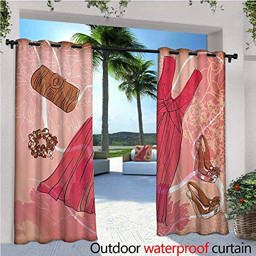 homehot Heels and Dresses Outdoor Blackout Curtains Spring Inspired Floral Abstract Backdrop Pink Dress Shoes Bracelet Outdoor Privacy Porch Curtains W96 x L108 Pink Brown White (T-mac Basketball Shoes)