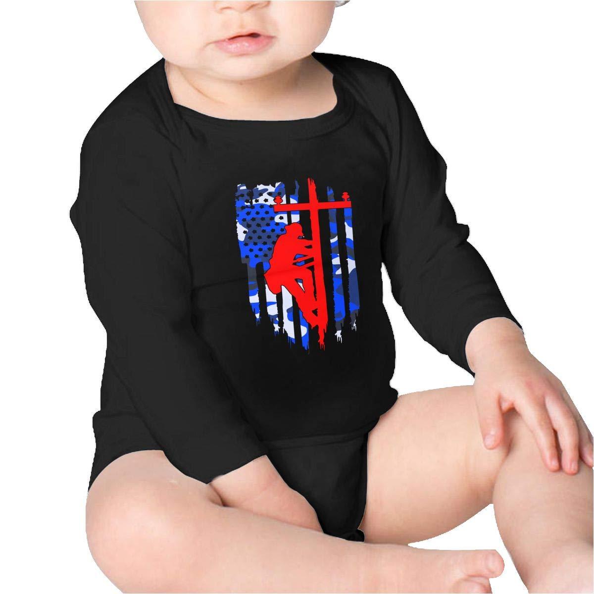 Pikaqiuleilei American Flag Lineman Baby Cotton,Long Sleeve Baby Romper