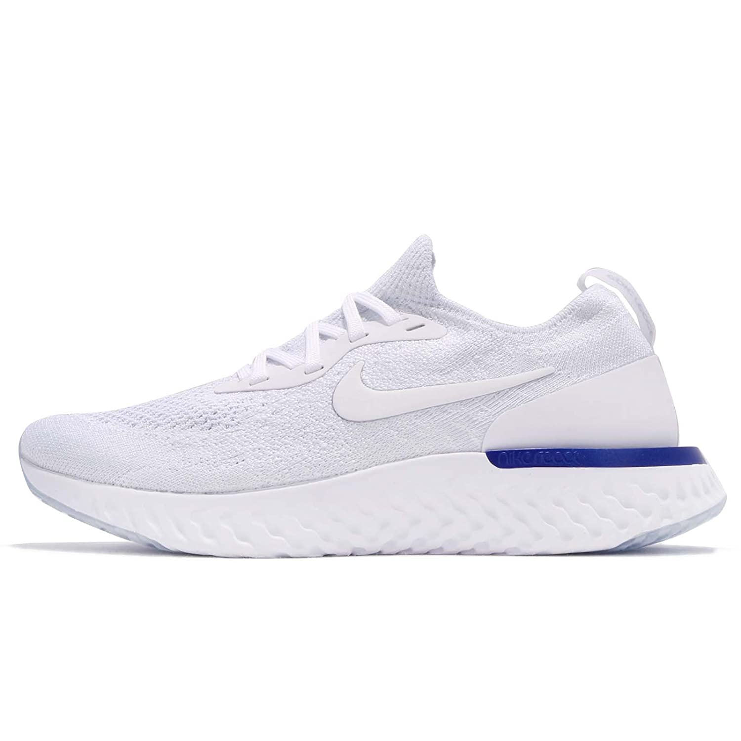 NIKE Women's Epic React Flyknit Running Shoes B079QKDDMS 6.5 US|WHITE/RACER BLUE