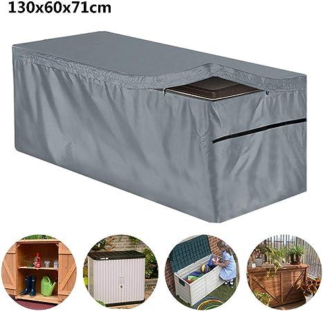 Cubierta de Caja de Cubierta, Cubierta de Caja de Almacenamiento de jardín de Patio Impermeable al Aire Libre: Amazon.es: Hogar