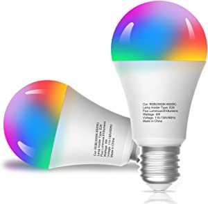 Smart Light Bulbs, Compatible with Alexa/Google Home/Echo, eLinkSmart WiFi LED Dimmable RGB 16 Million Color Changing,Timing, A19 E26 9W Engery Saving, 2.4Ghz WiFi Only, No Hub Required, 2-Pack