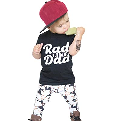12M-5T Baby Kids Boys Letters Black T-Shirt Tops + Pants Trousers Outfits Set