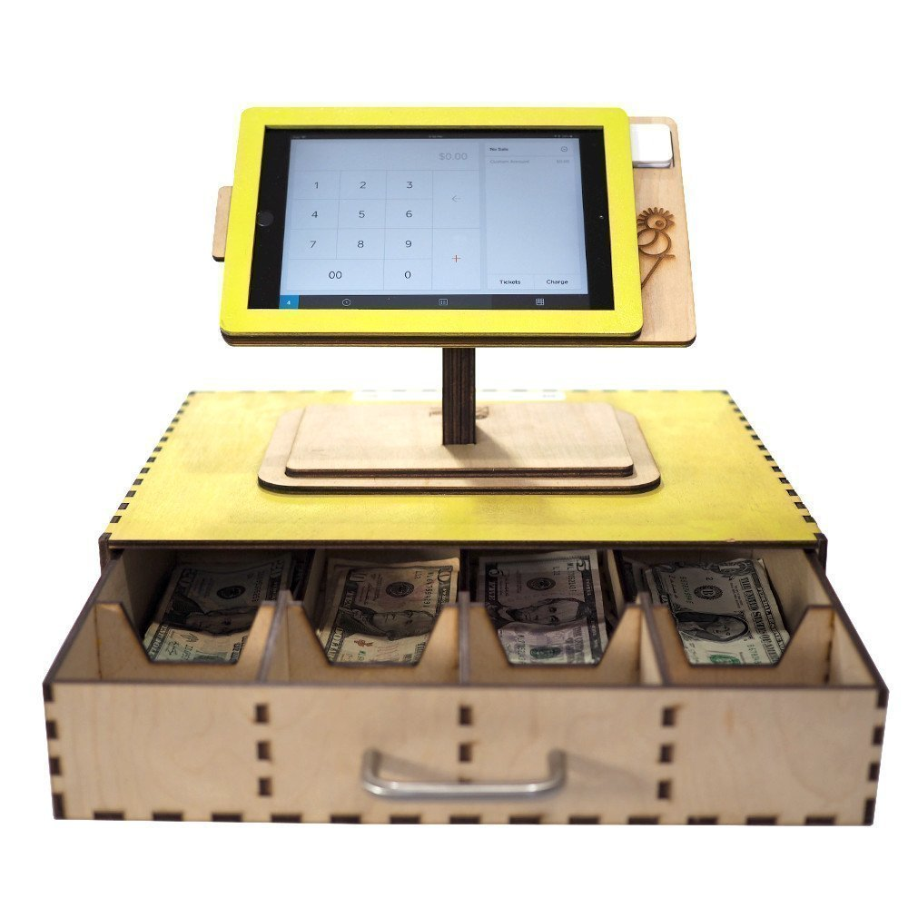 3 and 4 Square POS Stand and Cash Box for iPad Mini 1 Personalized gift. 2