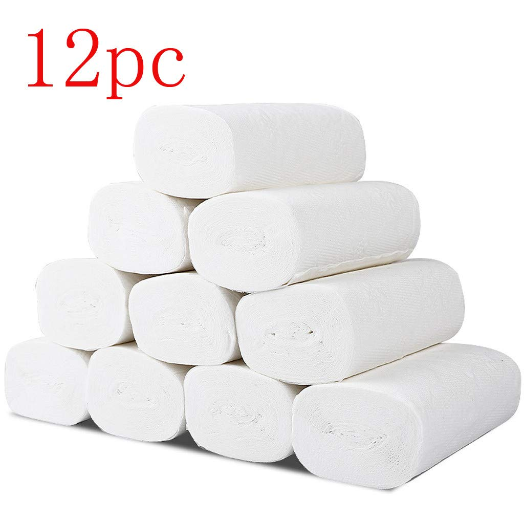 12 Rolls Paper Towels, Soft Toilet Paper, Household Three-Layer Paper Towels, Soft Skin-Friendly Paper Towels Bamboo Pulp Compact Coreless Recycled Household Super Roll Paper Soft Bathroom Towel 617KFxxVJkL