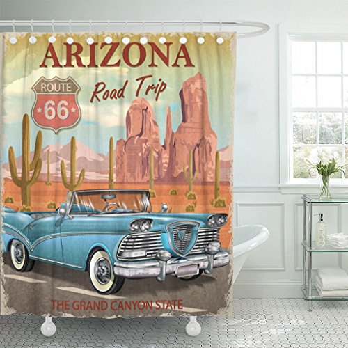 Traditional Road American Trip (TOMPOP Shower Curtain Cactus Vintage Arizona Road Trip Car Garage Waterproof Polyester Fabric 72 x 72 inches Set with Hooks)