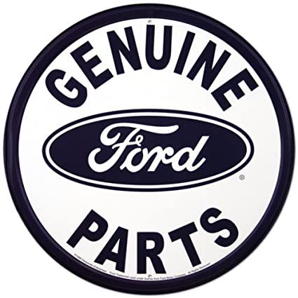 Genuine Ford Parts >> Amazon Com Genuine Ford Parts Round Tin Sign Home Kitchen