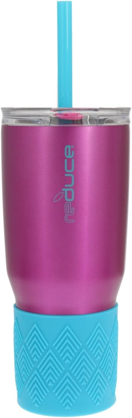 Reduce Tumbler, 24oz – Reduce Cold-1 Tumbler With Lid and Straw – 24 Hours Cold – Stainless Steel, Sweat-Proof Body – Cupholder Friendly, Perfect for Water and Coffee – Pink and Turquoise
