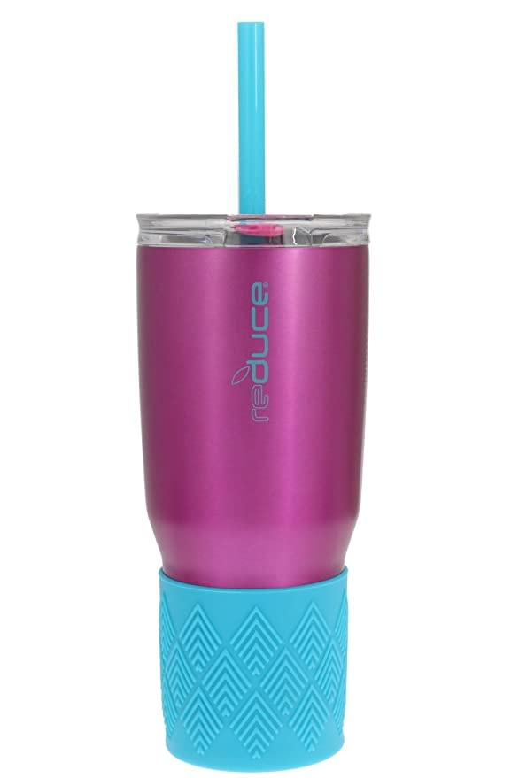 Reducir cold-1 acero inoxidable de aislado al vacío vaso con tapa de agarre de silicona, 3 en 1, martillo de - sabor neutro y sin olor (fucsia w/acentos de ...