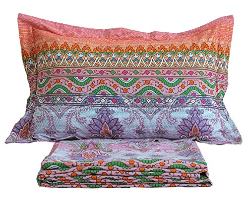 FADFAY Bohemian Sheets Boho Bed Sheet Set 4Pcs-Queen (Bohemian Sheet Sets)