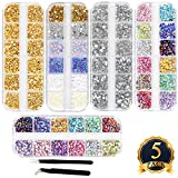 #5: SUBANG 5200 Count (5 Boxes) Nail Art Rhinestones Kit Nail Rhinestones with 2 Piece Tweezers,Multicolor Nail Studs Horse Eye Rhinestones For Nail Art Decorations Supplies