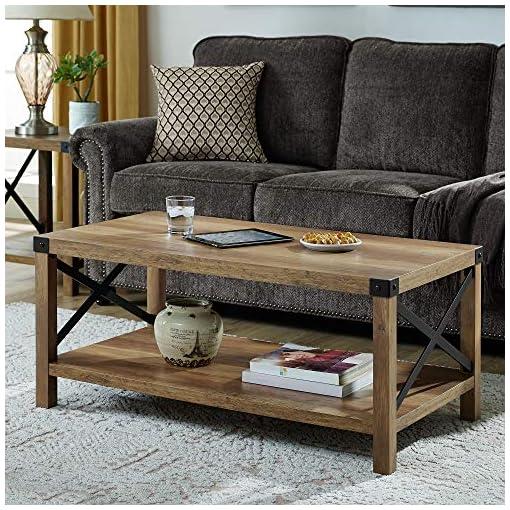 Farmhouse Coffee Tables Tucker 40 Inch Metal X Coffee Table with Rustic Oak Finish farmhouse coffee tables