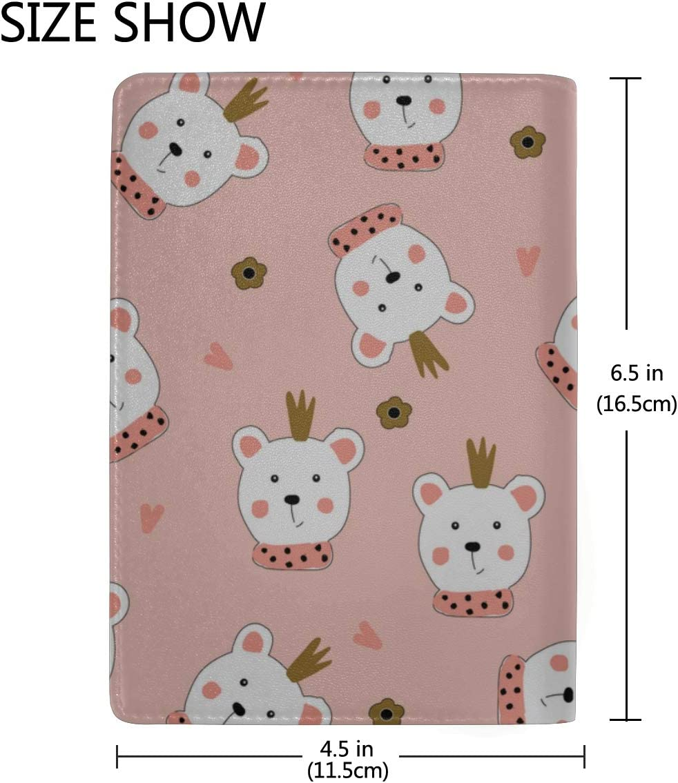 Custom Passport Case Cute Cartoon Bears Hand-drawn Stylish Pu Leather Travel Accessories Passport Cover Clear For Women Men