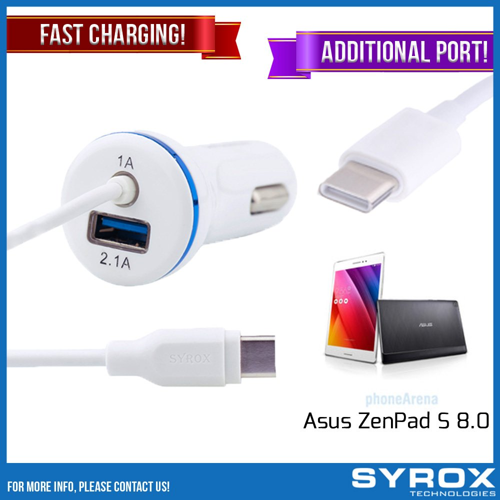 Syrox 50-Pack Type-C Car Charger & Port, Reversible 4 ft Fast Charging for Asus ZenPad S 8.0, Samsung Galaxy Note 8, S8 Plus, LG V30, V20, G6, G5, Google Pixel, 6P, Nintendo Switch and All