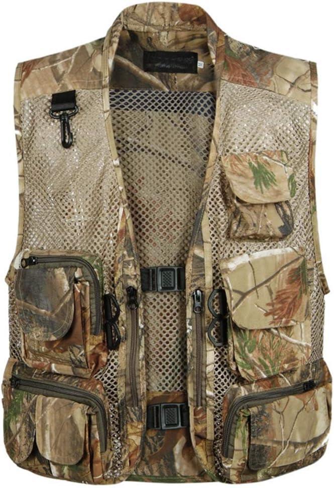 TeamWorld Men Outdoor Breathable Mesh Vest Multi-pocketed Waistcoat Safari Camouflage Gilet,2019 Mens Sightseeing Fishing Camping Traveling Photography Vests Adventure Jacket Bodywarmer Camo Gilets