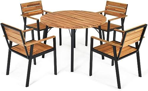 Tangkula 5 PCS Outdoor Patio Dining Set