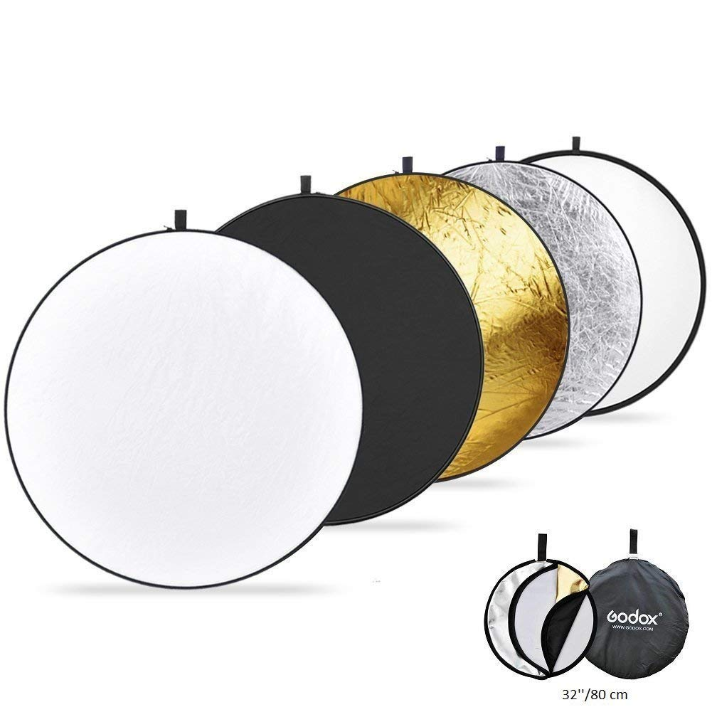 Light Reflector Photography,32-Inch /80CM Portable 5 in 1 Translucent, Silver, Gold, White Black Collapsible Round Multi Disc Light Reflector Studio Any Photography Situation