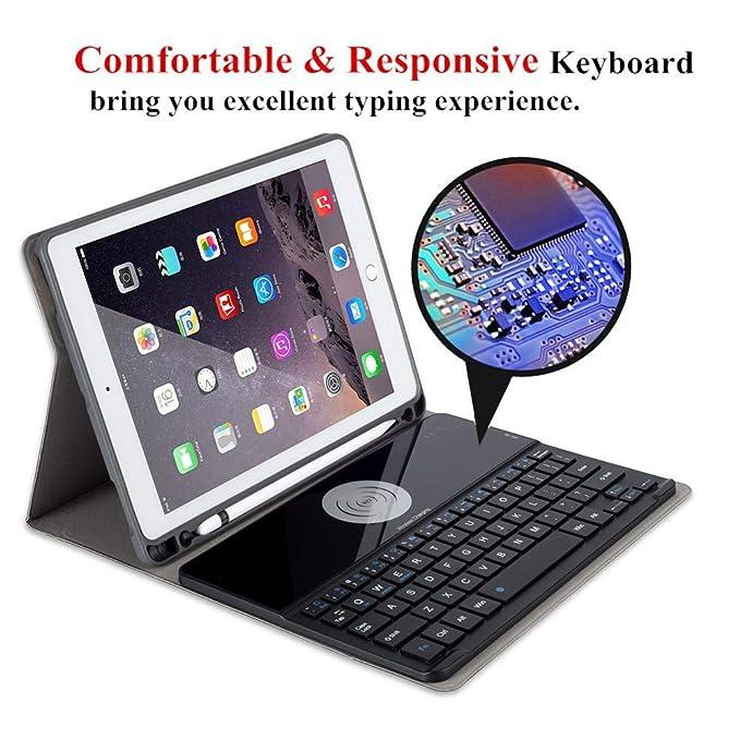 LayOPO iPad Funda de Teclado, Carga Inalámbrica Bluetooth 3.0 iPad 9.7 Funda de Teclado, Compatible con iPad Air1 & Air2, iPad Pro 9.7, 2018 iPad 9.7, ...