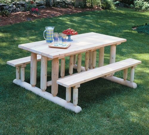 Cedarlooks 020021E Log Park Style Picnic Table (Rustic Teak Outdoor Furniture)