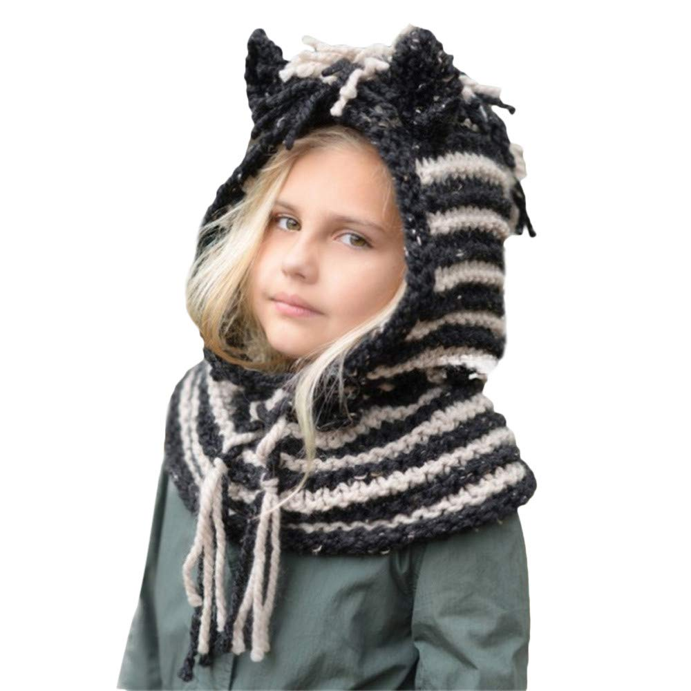 Cute Baby Toddlers Kids Warm Squirrel Animal Hats Knitted Hood Scarf Beanies for Autumn Winter (Black)