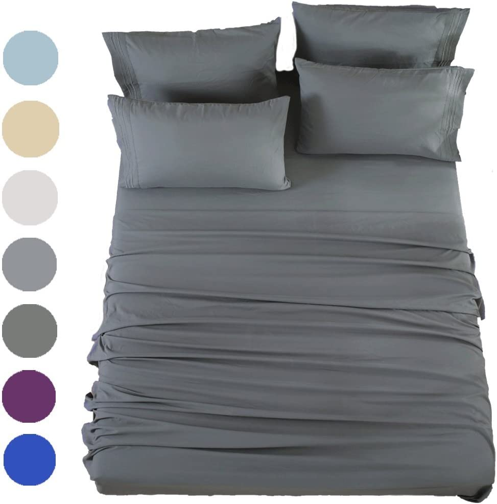 SONORO KATE Bed Sheets Set Sheets Microfiber Super Soft 1800 Thread Count Luxury Egyptian Sheets 16-Inch Deep Pocket Wrinkle Fade and Hypoallergenic - 6 Piece (Queen, Dark Grey)