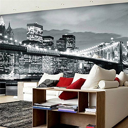 300cmX250cm 3D large living room mural night bar background wallpaper Manhattan Bridge in New York City black and