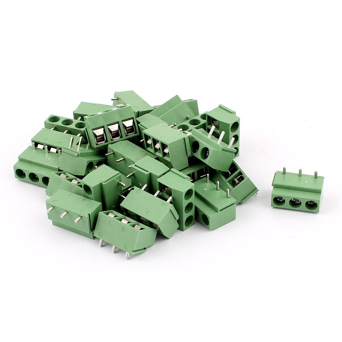 uxcell 30 Pcs 14-22AWG 3-Way 3P PCB Screw Terminal Block Connector 5.08mm
