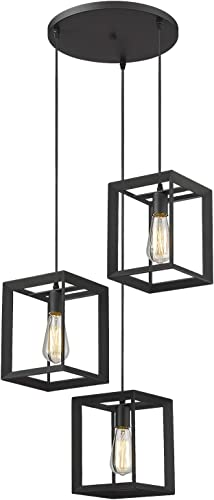 Emliviar 3-Light Cluster Pendant Lights, Industrial Kitchen Island Lighting Fixture, Black Finish, 20061D-3 BK