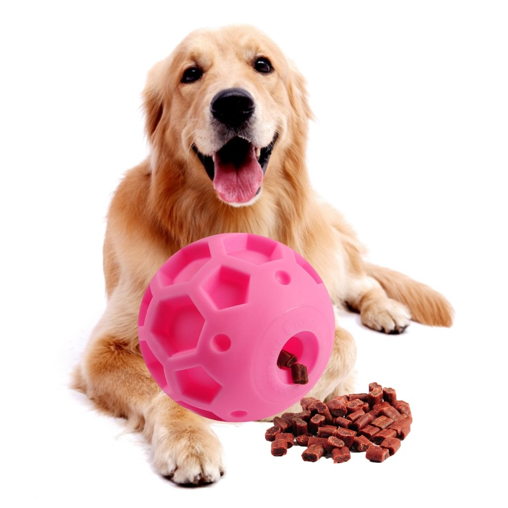 Super-Size Treat Ball Dog Toy Interactive Treat Dispenser IQ Treat Ball for Large Dogs Made of Environmental and Non-Toxic Bite Resistant Material 5 Inches in Diameter.