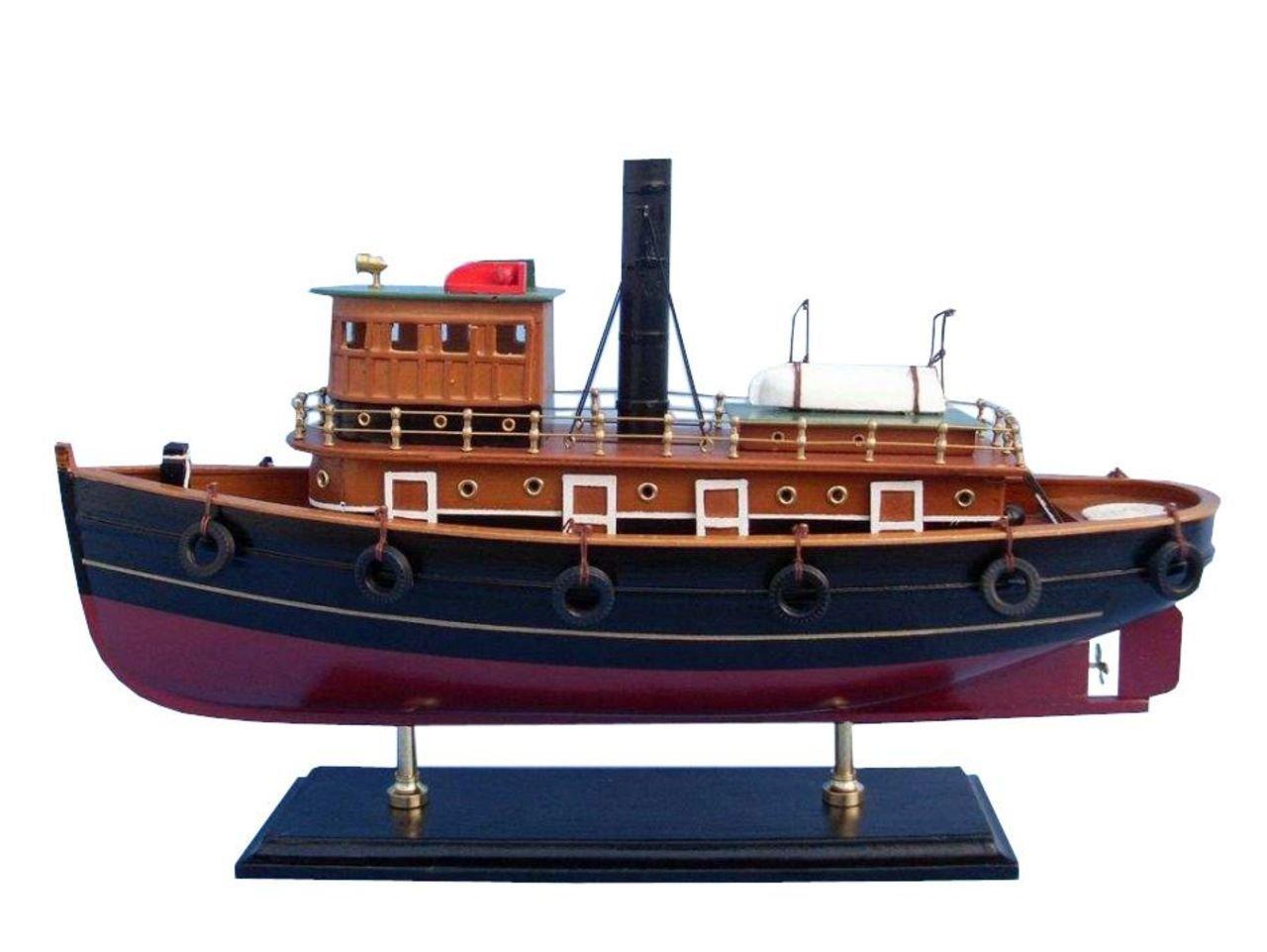 Hampton Nautical Wooden River Rat Tugboat Model Ship