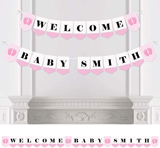 Pink Big Dot of Happiness Precious Cargo Baby Shower Bunting Banner Girl Party Decorations Welcome Baby