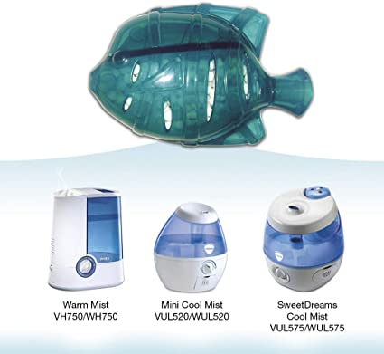 Vicks Mini Cool Mist Ultrasonic Humidifier with ProTec Cleaning Fish Antibacterial Accessory Bundle