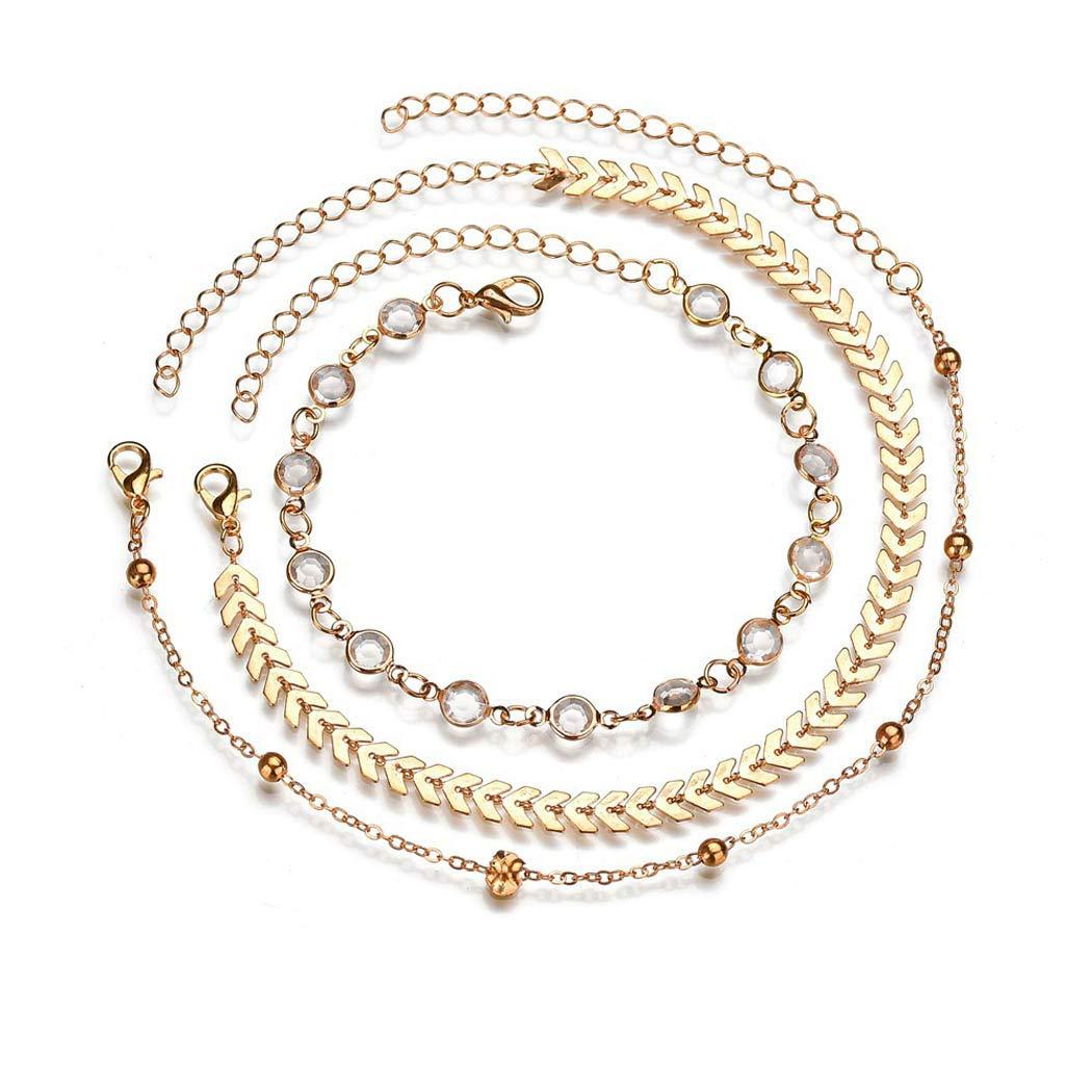 oro Jovono Boemia semplice bracciali cavigliere Paillettes freccia e strass multistrato cavigliera catena piede catena per donne e ragazze