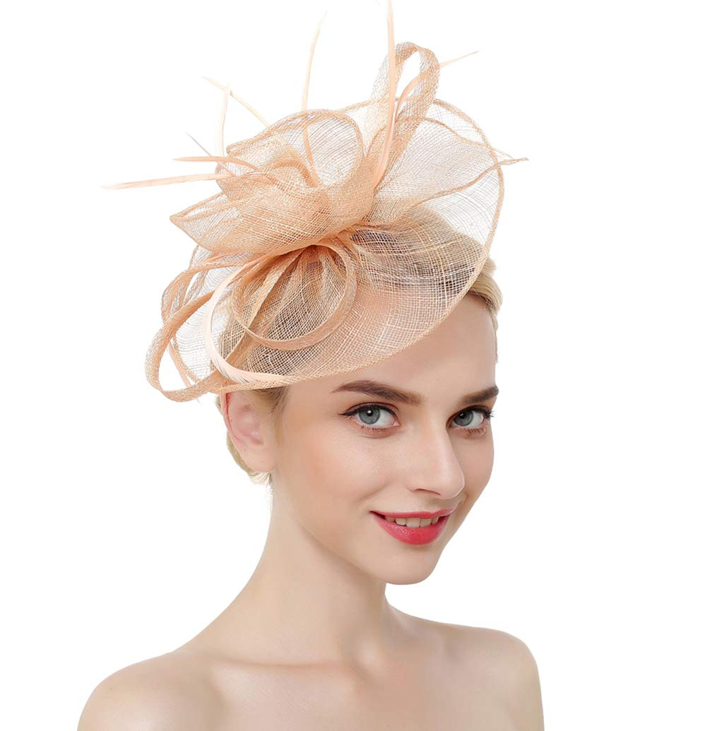 Vintage Flower Mesh Feathers Fascinators Hat for Women Kentucky Derby Cocktail Tea Party (Champagne)