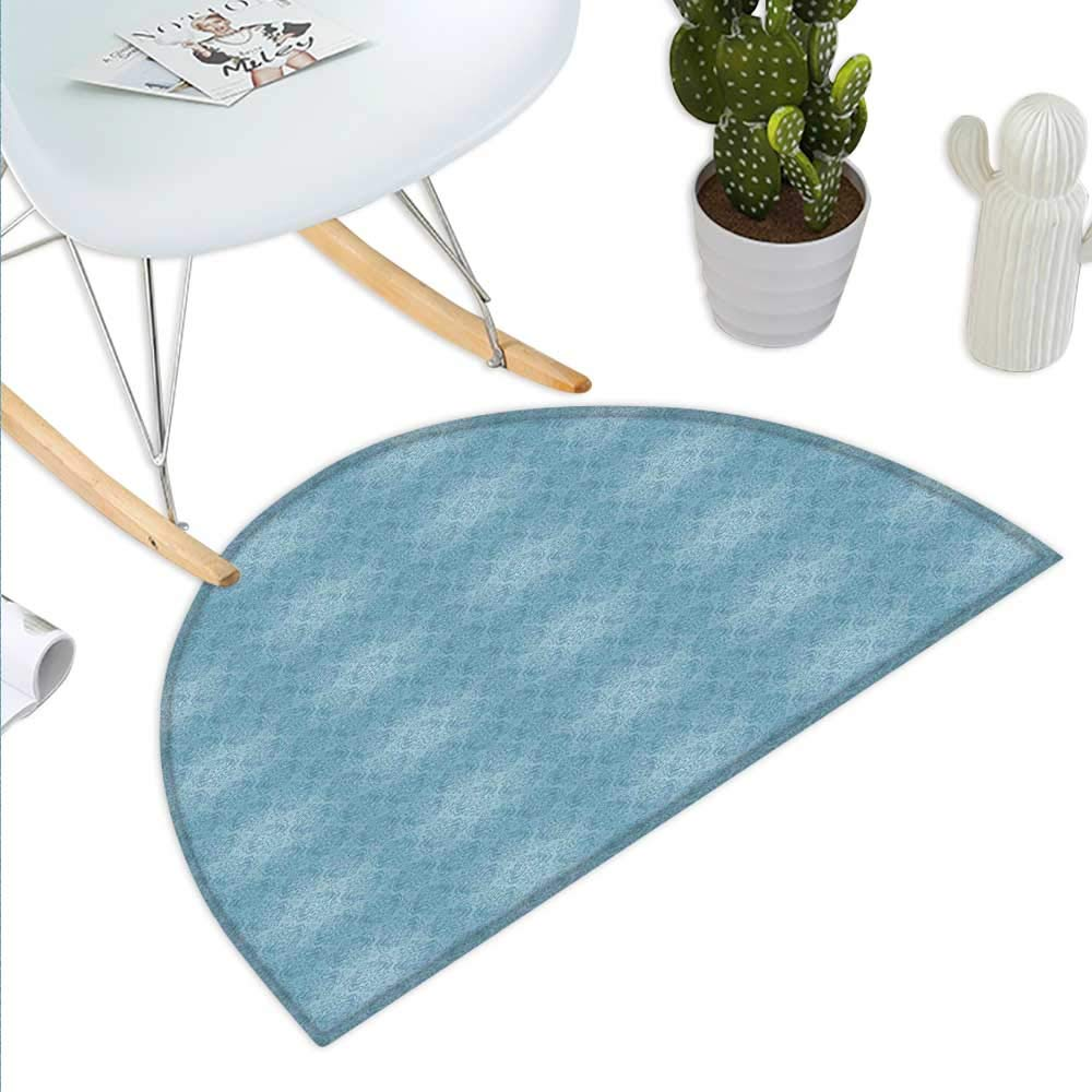 color04 H 27.5\ Vintage bluee Semicircle Doormat Abstract Foliage Motifs in Damask Style Old Fashioned Victorian Garden Pattern Halfmoon doormats H 27.5  xD 41.3  Slate bluee
