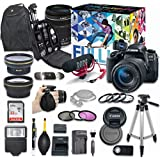 Canon EOS 77D DSLR Camera Video Creator Kit with Canon EF-S 18-135mm f/3.5-5.6 IS USM Lens + Wide Angle Lens + 2x Telephoto Lens + Flash + SanDisk 32GB SD Memory Card + Accessory Bundle