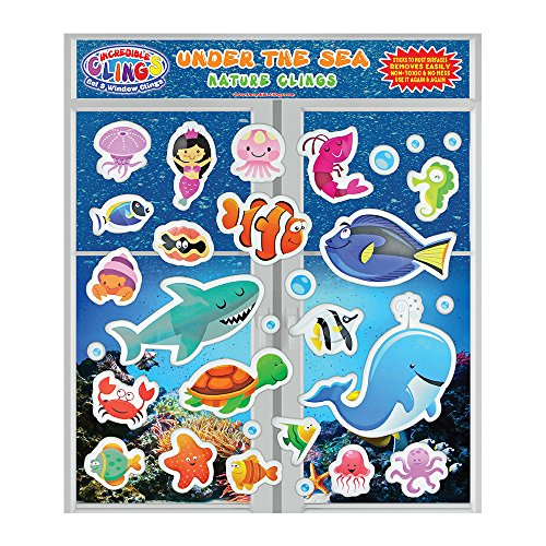 Under the Sea Ocean (30 piece) Incredible Gel and Window Clings - Reusable Removable Puffy Sticker Pack for Kids and Toddler Boys and Girls - Underwater, Turtle, Mermaid, Shark, Whale, Octopus, Fish  (Gel Clings)
