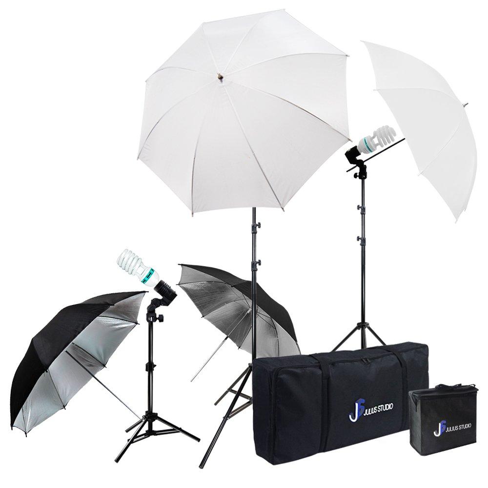 Julius Studio Photography Video Studio Portrait Lighting Kit, White & Black Umbrella Reflector, Continuous Bulb & Socket with Umbrella Insert, Light Stand Tripod, Carry Bag, Photo Studio, JSAG284V2