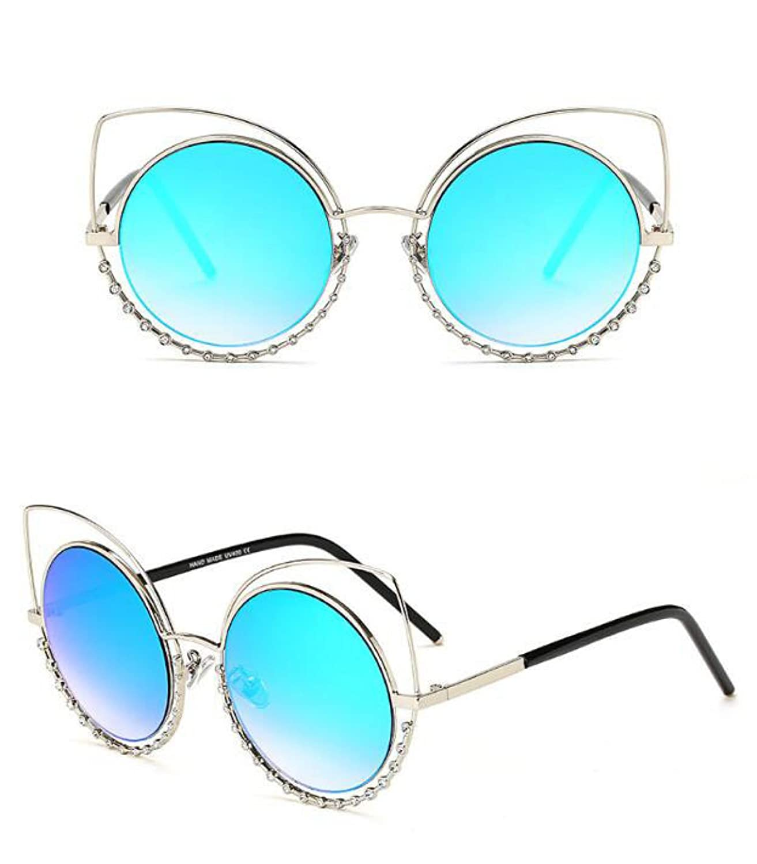 MYLL 2017 New Metal Signore Degli Occhiali Da Sole Star Female Modelli Di Lusso Diamante Cat Glasses,Blue-OneSize