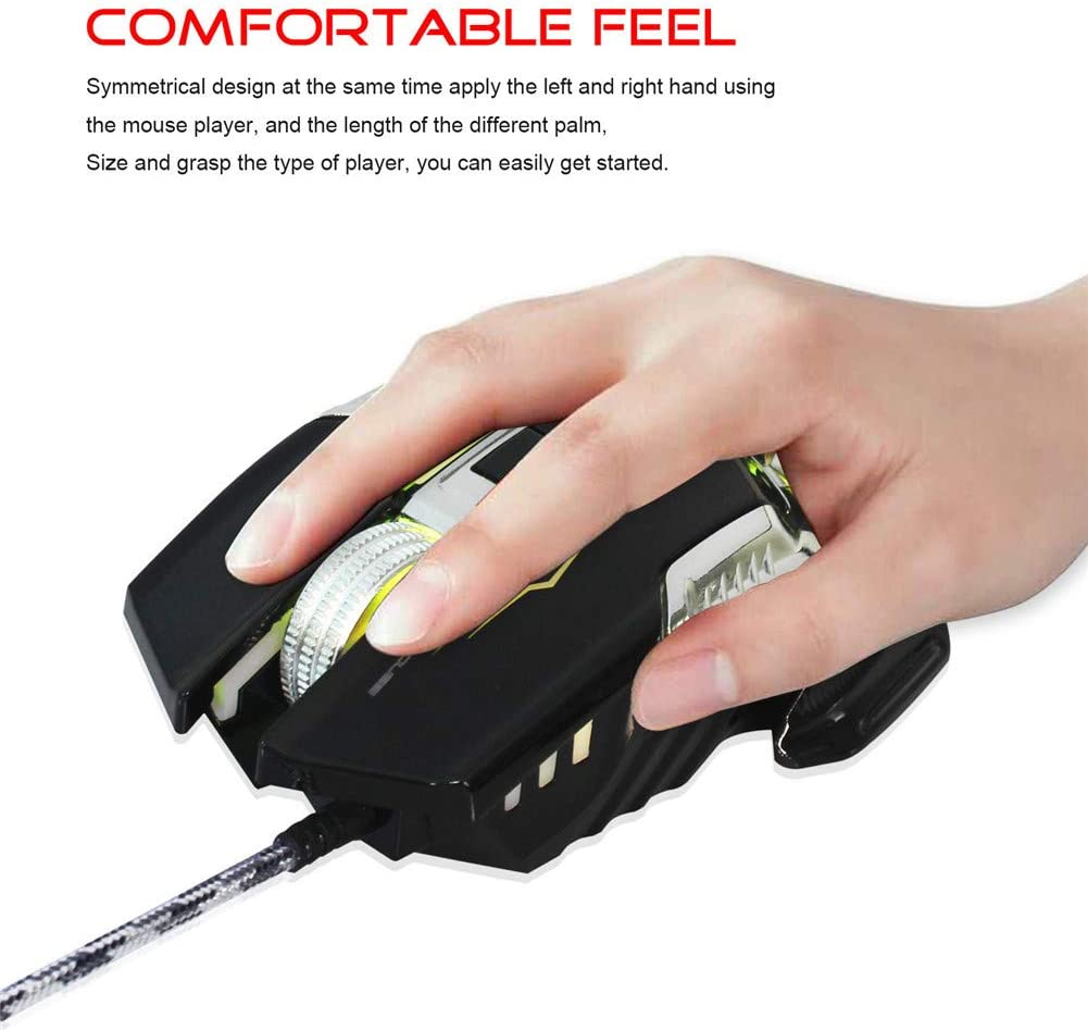 WAWRR Computer Gaming Mice,E-Sports Mouse Wired Mouse Gaming Mouse 4 Files Adjustable DPI Computer peripherals Programmable Buttons